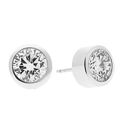 Michael Kors® Silvertone Pave Round Cut Stud Earrings