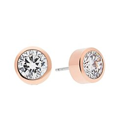 Michael Kors® Rose Goldtone Pave Round Cut Stud Earrings