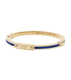 Michael Kors® Goldtone Navy Stone Hinge Logo Bangle Bracelet