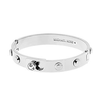 Michael Kors® Silvertone Pave Astor Hinge Bracelet With