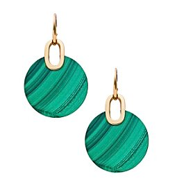 Michael Kors® Goldtone Malachite Semi Precious City Disc Fishwire Earrings