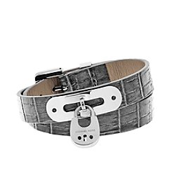 Michael Kors® Silvertone Grey  Padlock Leather Double Wrap Bracelet