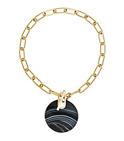 Michael Kors® Goldtone Black Agate City Disc Statement Pendant Necklace