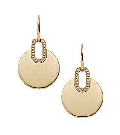 Michael Kors® Goldtone Pave City Disc Fishwire Earrings