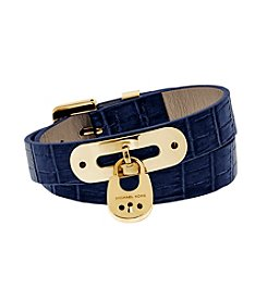Michael Kors® Goldtone Navy  Padlock Leather Double Wrap Bracelet