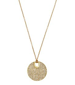 Michael Kors® Goldtone Pave City Disc Pendant Necklace