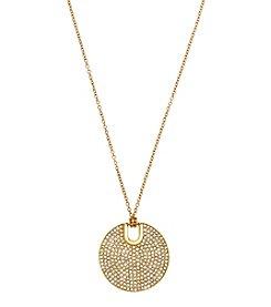 Michael Kors® Goldtone Pave City Disc Pendant Necklace
