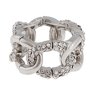 Erica Lyons® Silvertone Oval Links Fashion Stretch Ring