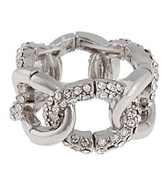 Erica Lyons® Silvertone Oval Links Fashion Stretch Ring