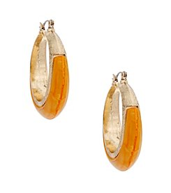 Erica Lyons® Goldtone Sunset Boulevard Yellow Hoop Pierced Earrings