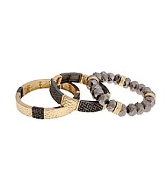 Erica Lyons® Goldtone And Hematite Tone All That Glitters Three Piece Stretch Bracelet