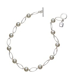 Lauren Ralph Lauren Silvertone Romantic Rebel Oval Link Simulated Pearl Necklace