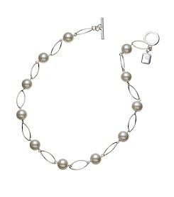 Lauren Ralph Lauren Silvertone Romantic Rebel Oval Link Simulated Pearl Necklace