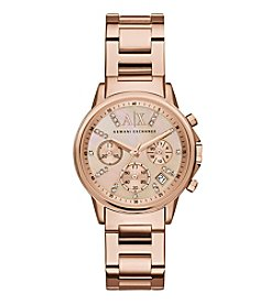 A|X Armani Exchange Women's Rose Goldtone Stainless Steel Watch With Mother Of Pearl  Dial And Glitz Indexes