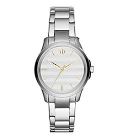 A|X Armani Exchange Womens Silvertone Stainless Steel Watch With Striped Dial And Goldtone Indexes