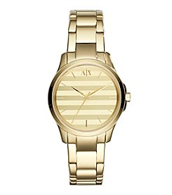 A|X Armani Exchange Women's Goldtone Stainless Steel Watch With Striped Dial