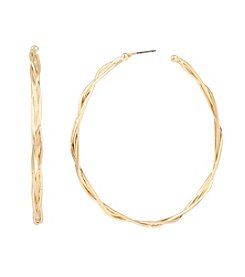 Kenneth Cole® Goldtone Twisted Wire Hoop Earrings