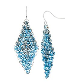 Kenneth Cole® Silvertone Woven Blue Faceted Bead Drop Earrings