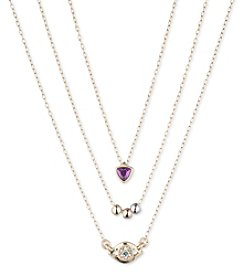 Lonna & Lilly Two Tone Carded Set Of Three Motif Necklaces