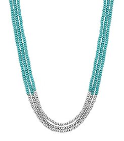 Lucky Brand® Silvertone Turquoise Beaded Necklace
