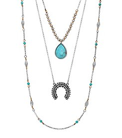 Lucky Brand® Silvertone Multi Strand Turquoise Necklace