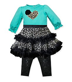 Baby Essentials® Baby Girls' 3-24M Animal Print Tutu Top With Leggings Set