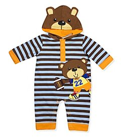 Baby Essentials® Baby Boys' 3-9M Football Bear Champ Hooded Coverall