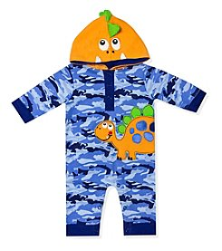 Baby Essentials® Baby Boys' 3-9M Happy Dinosaur Camo Hooded Coverall