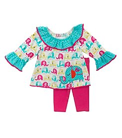 Rare Editions® Baby Girls' 9-18M Two-Piece Everything Elephants Set