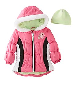 London Fog® Baby Girls' Colorblock Puffer Jacket
