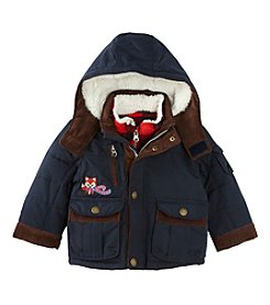 London Fog® Baby Boys Jacket With Plaid Fleece Lining
