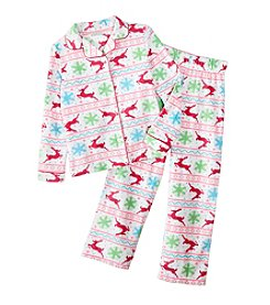 Komar Kids® Girls' 4-16 Reindeer Fair Isle Coat Front Pjs