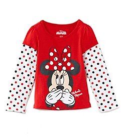 Disney® Girls' 2T-6X Minnie Mouse® Polka Dot Layered Top