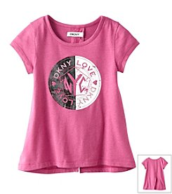 DKNY® Girls' 4-6X Short Sleeve Logo Love NYC Tee