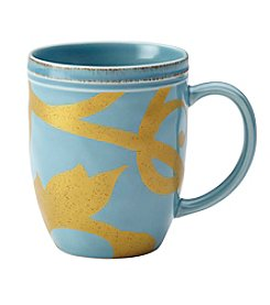 Rachael Ray® Gold Scroll Agave Blue Mug
