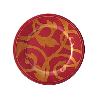 Rachael Ray® Gold Scroll Cranberry Red Salad Plate