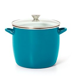 Sabatier® Teal Enamel on Steel Stock Pot with Glass Lid