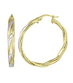 Designs by FMC Two-Tone Diamond Cut Twist Hoop Earrings