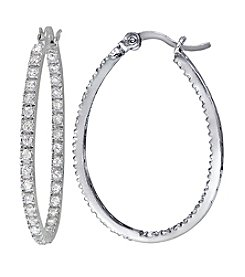 Designs by FMC Cubic Zirconia Set in Sterling Silver Inside Out Oval Hoop Earrings