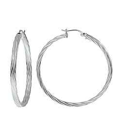 Designs by FMC Sterling Silver Diamond Cut Twist Hoop Earrings