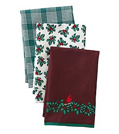 LivingQuarters Cardinal 3-pk. Kitchen Towels