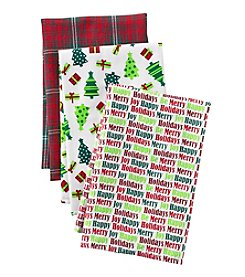 LivingQuarters Trees and Presents 3-pk. Kitchen Towels