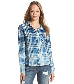 Cloth & Stone® Acid Wash Plaid Shirt
