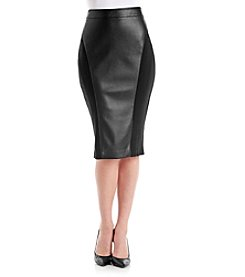 XOXO® Ponte Faux Leather Midi Skirt