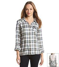Jessica Simpson Plaid Lace Shirt