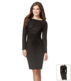 Chaps® Sequined-Lace Combo Dress
