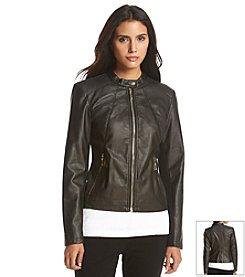 Ivanka Trump® Faux Leather Moto Jacket