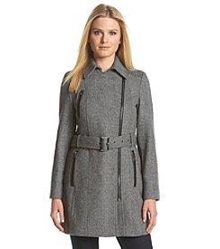 Calvin Klein Asymmetrical Zip Herringbone Coat