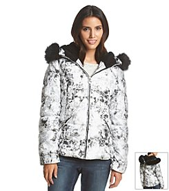 Betsey Johnson® Short Marble Print Puffer Coat