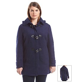 Calvin Klein Plus Size Hooded Boucle Toggle Coat